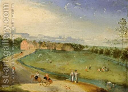 An Extensive Landscape With Figures On A Meadow Near A Stream, A Horse-Drawn Cart In The Foreground by (after) Jacob Grimmer - Reproduction Oil Painting