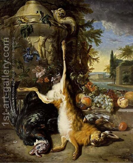 A Hunting Still Life With A Hare, A Turkey And Partridges Near A Sculpted Vase With An Iris And Other Flowers, Together With Grapes, Peaches And Prunes On A Stone Ledge, All In A Park Setting With A View Of A Palace Beyond by (after) Jan Weenix - Reproduction Oil Painting