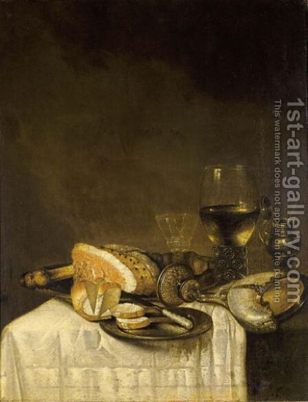 A Still Life With A Nautilus Cup, A Roemer, A Wineglass, A Ham, Bread And A Knife On Pewter Plates Together With A Silver Gilt Mustard Jar, All On A Table Draped With A White Tablecloth by (after) Willem Claesz. Heda - Reproduction Oil Painting