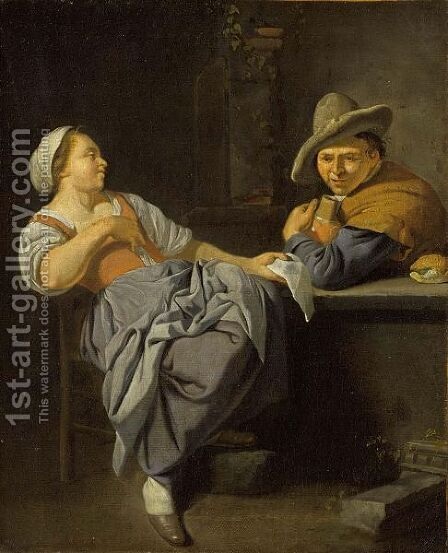 A Couple Sitting At A Table In An Inn by (after) Jacob Toorenvliet - Reproduction Oil Painting