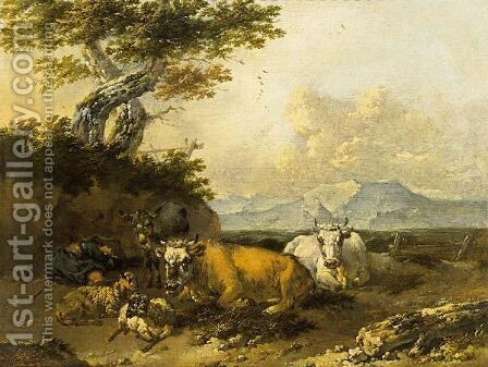 Cows And Sheep In An Italianate Landscape With A Shepherd Resting by Jan Frans Soolmaker - Reproduction Oil Painting