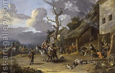 Mercenaries Plundering A Village by Anthonie Goubau - Reproduction Oil Painting