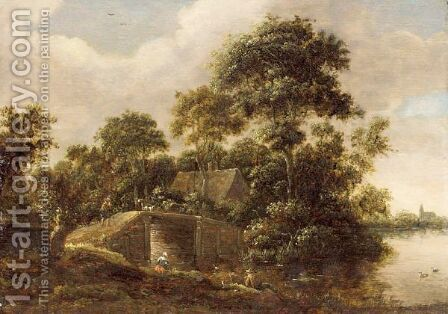 A River Landscape With A Fisherman Near A Bridge, A Cottage In The Woods Beyond And A Church In The Background by (after) Salomon Rombouts - Reproduction Oil Painting