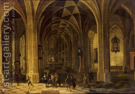 An Elegant Company In A Church Interior At Night by (after) Pieter The Younger Neefs - Reproduction Oil Painting