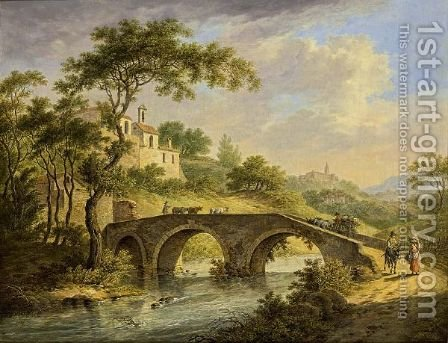 An Italianate Landscape With An Ox-Drawn Cart And A Shepherd And His Cattle On A Bridge, Other Travellers Nearby And A View Of A Walled Town Nearby by Daniel Dupre - Reproduction Oil Painting