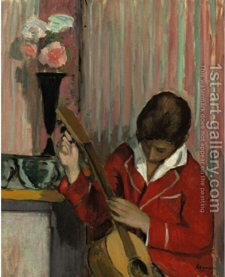 Pierre Lebasque Jouant De La Guitare by Henri Lebasque - Reproduction Oil Painting