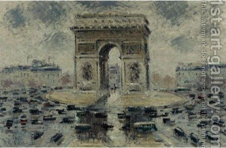La Place De L'Etoile by Gustave Loiseau - Reproduction Oil Painting
