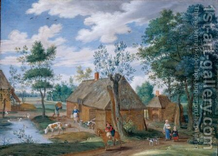 A Pastoral Landscape With A Farm by Isaak van Oosten - Reproduction Oil Painting