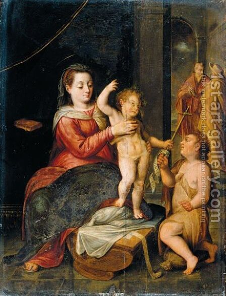 The Virgin And Child In A Classical Setting, St. John The Baptist Kneeling Nearby by Bernaert De Rijcke - Reproduction Oil Painting