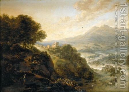 An Extensive Mountainous River Landscape With Peasants Resting By A Path, A Small Fortified Town In A Valley Beyond by Jan the Elder Griffier - Reproduction Oil Painting
