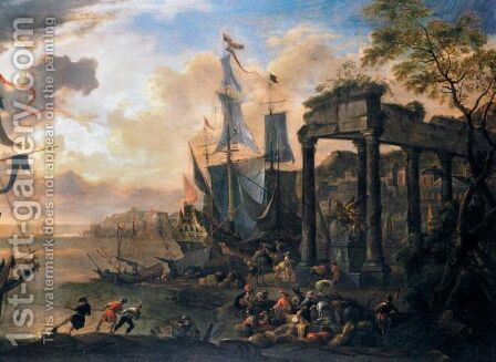 A Capriccio Of A Mediterranean Harbour With A Man-Of-War At Anchor And Figures Seated Beside Architectural Ruins by Antoon Van Minderhout - Reproduction Oil Painting