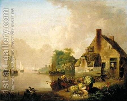 A River Landscape With Moored Sailing Boats And A Village Behind, A Still Life Of Cabbages, Carrots, Hares And A Black Hen In The Foreground by Jan van Os - Reproduction Oil Painting