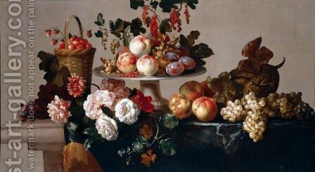 A Still Life Of Peaches, Plums, Currants And Hazelnuts On A Silver Platter, Strawberries In A Basket, Together With Grapes, Apples, A Melon, Peonies And Zinneas On A Stone Table Draped With A Cloth by (after) Jean-Baptiste Monnoyer - Reproduction Oil Painting