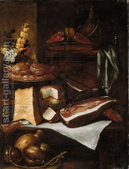 A Kitchen Still Life With A Wine Casket, Parma Ham, Salami, Cheeses, Sweetmeats On A Plate, And A Bunch Of Flowers, All Arranged On A Wooden Table And Ledge by Italian Unknown Master - Reproduction Oil Painting
