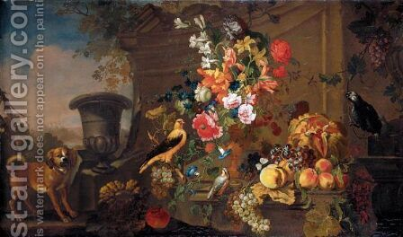 Still Life With An African Grey Parrot, A Chaffinch And Another Bird, Together With Flowers In A Bronze Urn And Grapes, Apples, A Melon And Other Fruit Together In A Landscape by (after) Franz Werner Von Tamm - Reproduction Oil Painting