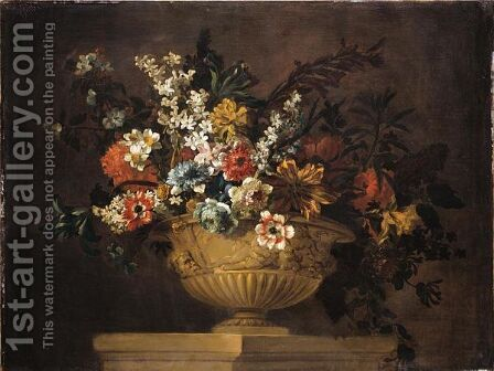 Still Life Of Various Flowers In An Urn Resting On A Ledge by (after) Jean-Baptiste Monnoyer - Reproduction Oil Painting