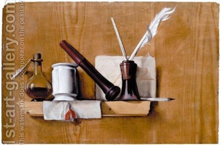 A Trompe L'Oeil With Plumes by (after)  Heiman Dullaert - Reproduction Oil Painting