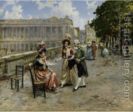 Elegant Ladies At The Tuileries Gardens, Paris by Henri Victor Lesur - Reproduction Oil Painting