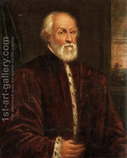 Portrait Of A Gentleman, Half Length, Wearing The Robes Of A Venetian Senator by (after) Jacopo Tintoretto (Robusti) - Reproduction Oil Painting