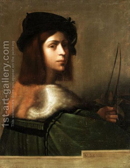 Portrait Of A Youth Behind A Parapet by (after) Sebastiano Del Piombo (Luciani) - Reproduction Oil Painting