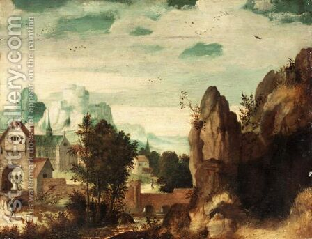 Landscape With A Mountaintop Castle Above A Walled Town by (after) Lucas Gassel - Reproduction Oil Painting