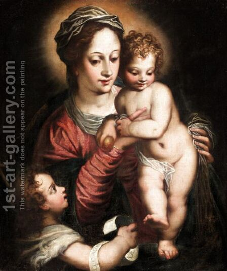 Madonna And Child With Saint John The Baptist by (after) Hans I Rottenhammer - Reproduction Oil Painting