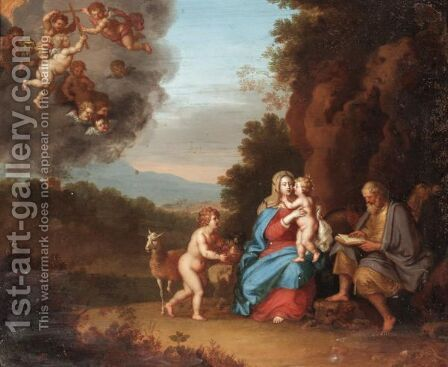 Holy Family In A Landscape With Putti by Daniel Vertangen - Reproduction Oil Painting