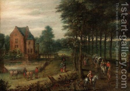 A Landscape With A Horse-Drawn Wagon, Figures On Horse-Back And Others Walking On A Path By A Small Manor by Jan, the Younger Brueghel - Reproduction Oil Painting