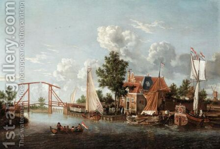 A Dutch River Landscape With Three Ships And A Boat by (after) Jacobus Storck - Reproduction Oil Painting