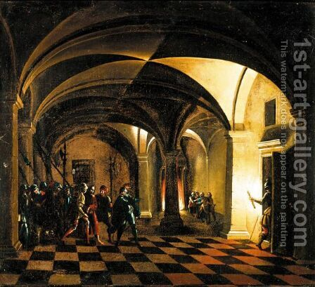 Nocturnal Church Interior With The Taking Of Christ And The Denial Of Saint Peter Beyond by (after) Hendrick Van Steenwijck II - Reproduction Oil Painting