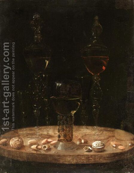 Still Life Of A Roemer With Five Wine Glasses Upon A Table Top by (after) Osias, The Elder Beert - Reproduction Oil Painting