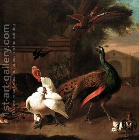 A Peacock With A Turkey, Hen And Chicks And A Swallow Startled By A Bird Of Prey In An Ornamental Garden by (after) Melchior D'Hondecoeter - Reproduction Oil Painting