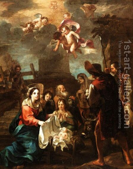 The Adoration Of The Shepherds by (after) Jean Tassel - Reproduction Oil Painting