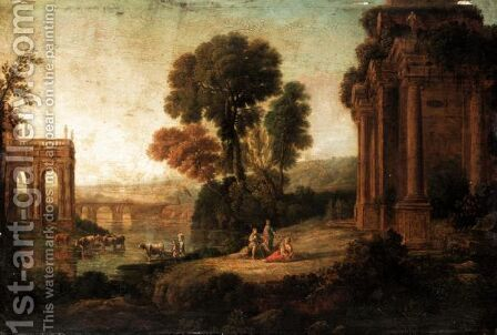Classical Landscape With Arcadian Figures Before Ruins Beside The River by (after) Claude Lorrain (Claude Gellee) - Reproduction Oil Painting