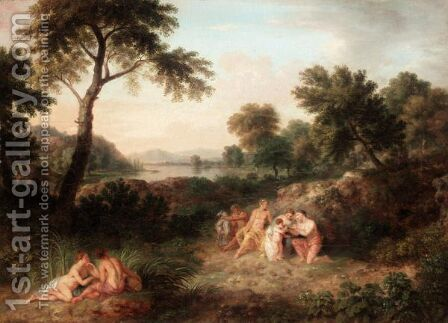 Arcadian Landscape With The Nurturing Of The Young Jupiter by (after) Huysum, Jan van - Reproduction Oil Painting