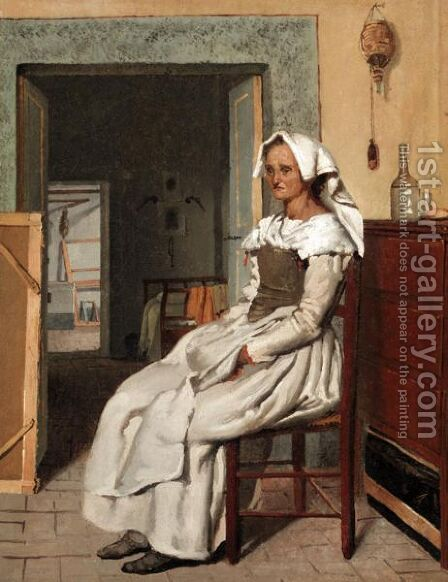 An Elderly Model In An Artist's Studio by Italian School - Reproduction Oil Painting