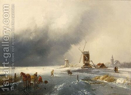 A Winter Landscape With Figures On A Frozen Waterway 3 by Charles Henri Leickert - Reproduction Oil Painting