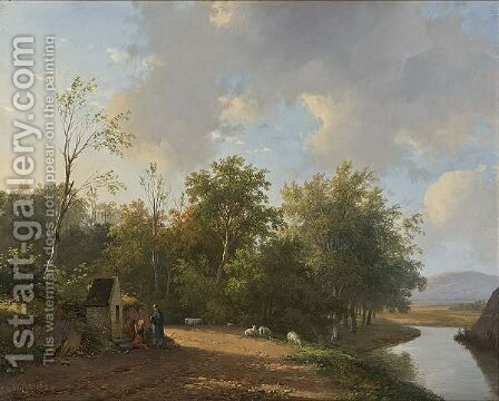 Travellers At Rest In A Summer Landscape by Andreas Schelfhout - Reproduction Oil Painting
