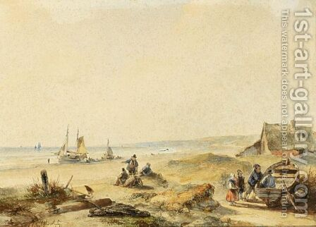 Fisher Folk In The Dunes by Andreas Schelfhout - Reproduction Oil Painting