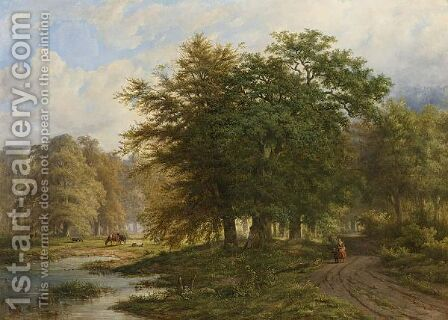 A Traveller On A Path In A Wooded Landscape by Adrianus Henrikus De Bruine - Reproduction Oil Painting