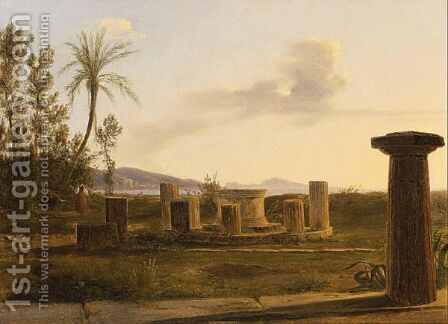 An Italian Landscape With Figures Near A Ruin by Anthonie Sminck Pitloo - Reproduction Oil Painting