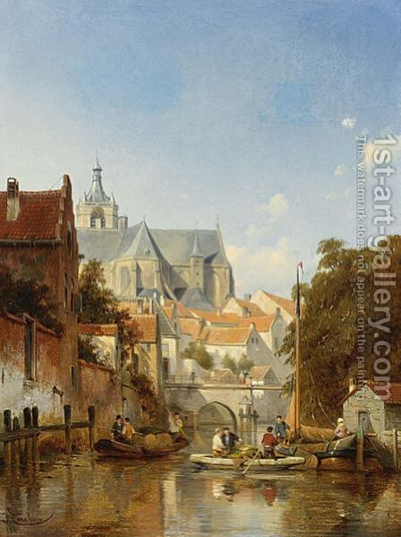 A Town Scene With Figures On A Canal by Jacques Carabain - Reproduction Oil Painting