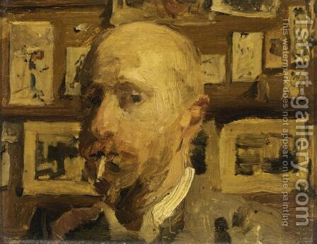 A Self Portrait In The Artist A's Studio by Isaac Israels - Reproduction Oil Painting