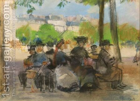 Figures In A Park, Paris by Isaac Israels - Reproduction Oil Painting