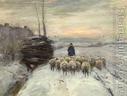 A Shepherd With His Flock In A Winter Landscape by Anton Mauve - Reproduction Oil Painting