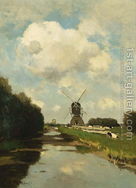 Windmills Along A Waterway Near The Woerdense Verlaat by Jan Hendrik Weissenbruch - Reproduction Oil Painting