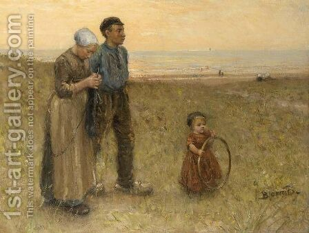 A Fisherman A's Family In The Dunes by Bernardus Johannes Blommers - Reproduction Oil Painting
