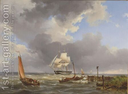Shipping Off The Coast by Hermanus Koekkoek - Reproduction Oil Painting
