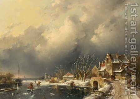 A Winter Landscape With Skaters Near A A'Koek En Zopie A' by Charles Henri Leickert - Reproduction Oil Painting
