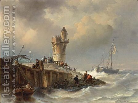 Shipping Near The Coast by Henry Adolphe Schaep - Reproduction Oil Painting